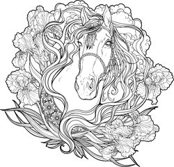 horse with clouds, flowers and leaves. Coloring page.