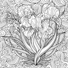 iris flowers and floral backg. Coloring page.