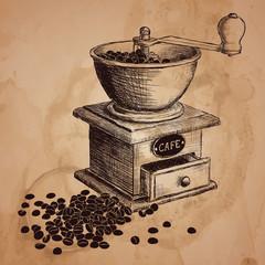 hand drawn coffee mill
