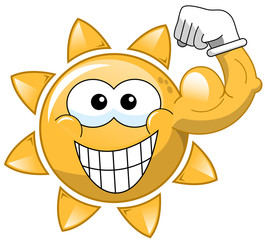 Cartoon sun showing biceps isolated
