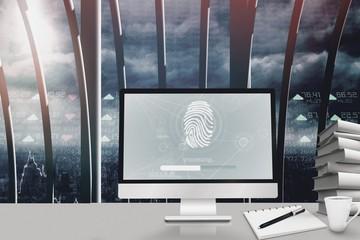Composite image of fingerprint on computer