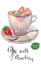 Cup of coffee with milk, mint and fresh strawberries