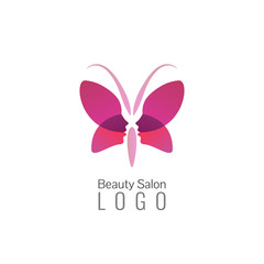 Beauty salon vector logo or icon template. Logo woman silhouette. Butterfly logo