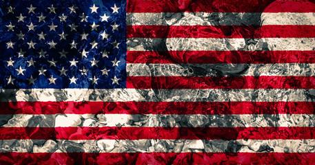 USA flag background - ocean rocks, water splashes
