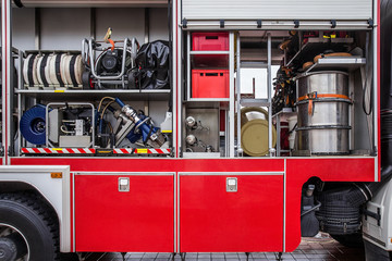 The car rescue inside. Fire truck. The contents of a fire truck.