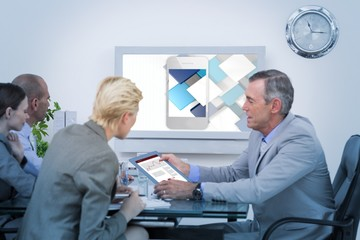 Composite image of colleagues speaking about work