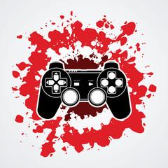 Game Joystick designed on splatter blood background graphic vector.