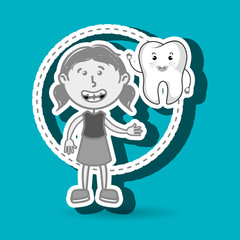 girl with tooth isolated icon design, vector illustration  graphic