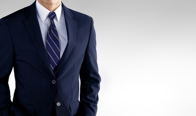 Man in business suit over white