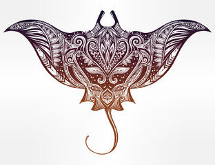 Stingray in Maori tribal ornament decor.