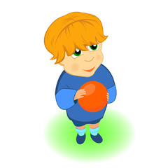 Small boy with ball cartoon character