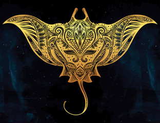Stingray in Maori tribal ornament decor.