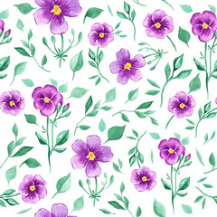 Watercolor seamless pattern with violet flowers