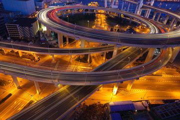 Aerial photography at Shanghai viaduct overpass bridge of night