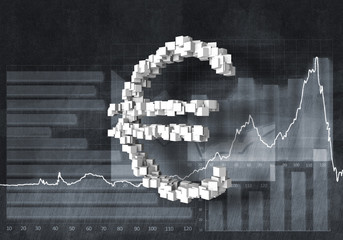 Euro currency rate, 3D rendering