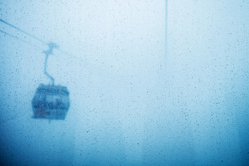Cable car in fog