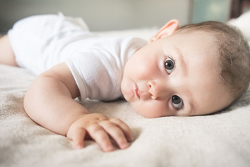 Cute Little Baby on Bed