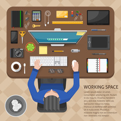 Working Space Top View Design