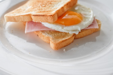 Fresh Grilled Sandwich with ham and egg for breakfast