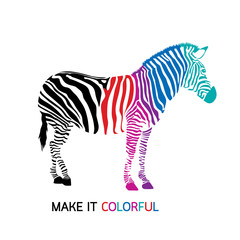 Make zebra colorful. Vector illustration isolated on white background.