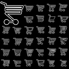 white icons of cart