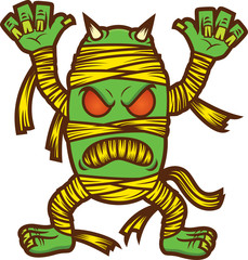 Monster Mummy Zombie Cartoon Illustration Isolated on White