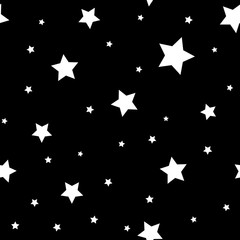 Star seamless pattern. Black and white retro background. Chaotic elements. Abstract geometric shape texture. Effect of sky. Design template for wallpaper, wrapping, fabric, textile Vector Illustration