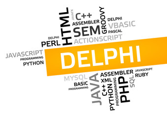 DELPHI word cloud, tag cloud, vector graphic