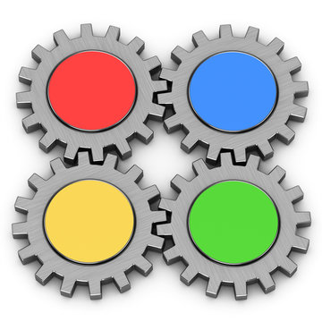 3d four gears on a white background
