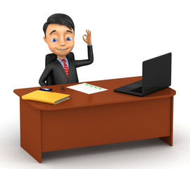 3d successful businessman sitting at a desk on a white backgroun
