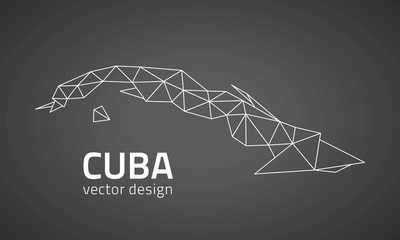 Cuba vector perspective triangle map of America