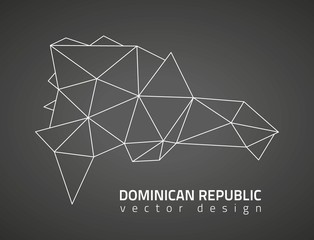 Dominican republic black triangle vector map