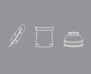 набор для написания письма,чернильница,перо
