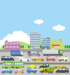 交通渋滞のイメージイラスト(街並み)