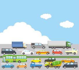 交通渋滞イメージのイラスト(晴天)