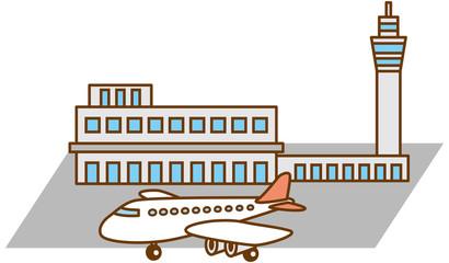 空港と飛行機のイメージイラスト