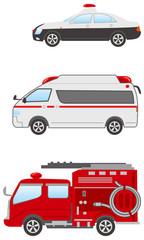 陸の乗物(公共)イメージイラストセット(パトカー・救急車・消防車)