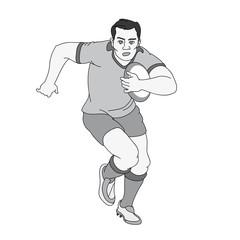 Rugby Spieler mit Ball