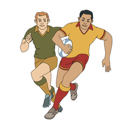 Rugby Spieler um Ball kämpfend