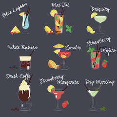 Illustration of Different Drinks and Cocktails