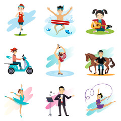 Active lifestyle, Hobbies, Healthy Lifestyle Set