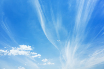 Cirrus clouds, natural blue cloudy sky background