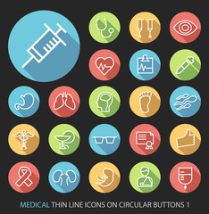 Elegant White Medical Minimalistic Thin Line Icons on Circular Colored Buttons on Black Background.