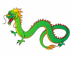 Green Chinese Dragon Vector Illustration