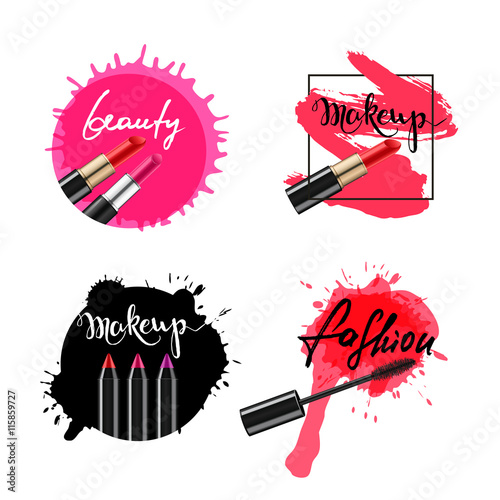 Calligraphy words makeup, beauty, fashion and lipstick smears, isolated. Ink and watercolor backgrounds.