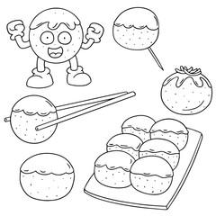 vector set of japanese octopus ball (takoyaki)