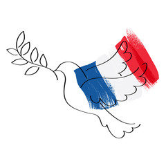 Dove and flag of France vector illustration.