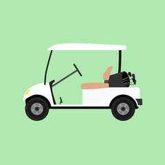 White empty golf cart. Vector illustration isolated.