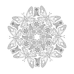 Monochrome Mendie Mandala with butterflies and flowers. Zenart inspired.