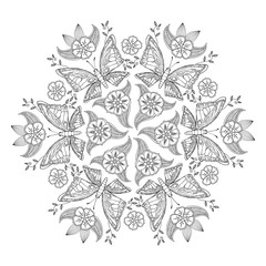 Mendie Mandala with butterflies and flowers. For coloring book.